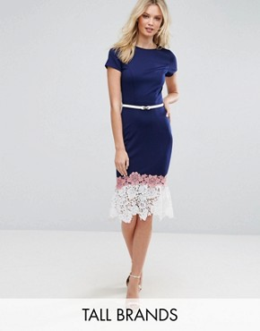 photo Lace Hem Dress with Belt Detail by Paper Dolls Tall, color Navy - Image 1