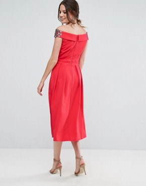 photo Embellished Off Shoulder Wrap Midi Dress by Little Mistress Tall, color Cherry - Image 2