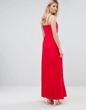 photo Lace Top Pleated Maxi Dress by Little Mistress Tall, color Cherry - Image 2