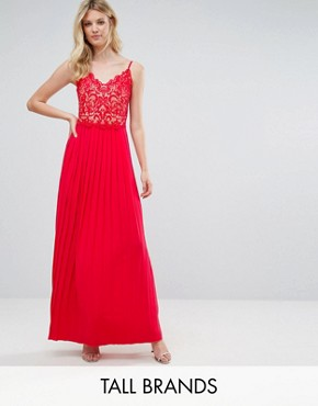 photo Lace Top Pleated Maxi Dress by Little Mistress Tall, color Cherry - Image 1