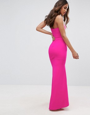 photo Bandeau Fishtail Maxi Dress by John Zack Tall, color Hot Pink - Image 2