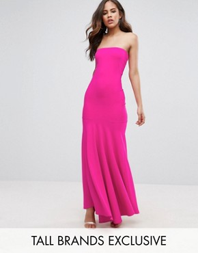 photo Bandeau Fishtail Maxi Dress by John Zack Tall, color Hot Pink - Image 1