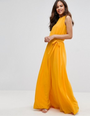 photo Plunge Back Maxi Dress by John Zack Tall, color Yellow - Image 2