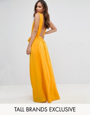 photo Plunge Back Maxi Dress by John Zack Tall, color Yellow - Image 1