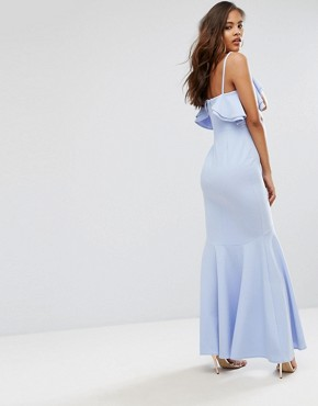 photo Ruffle Front Fishtail Maxi Dress with High Low Hem by John Zack Tall, color Pale Blue - Image 2