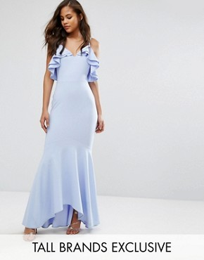 photo Ruffle Front Fishtail Maxi Dress with High Low Hem by John Zack Tall, color Pale Blue - Image 1