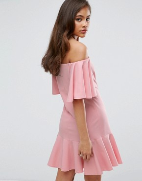 photo Off Shoulder Mini Dress with Fluted Hem Detail by John Zack Tall, color Nude - Image 2