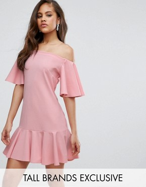 photo Off Shoulder Mini Dress with Fluted Hem Detail by John Zack Tall, color Nude - Image 1