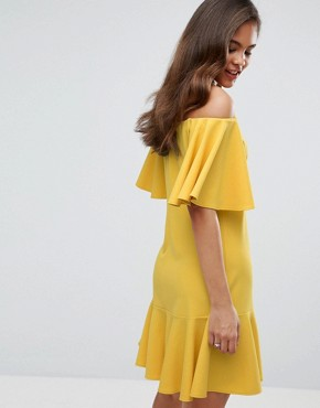 photo Off Shoulder Mini Dress with Fluted Hem Detail by John Zack Tall, color Yellow - Image 2
