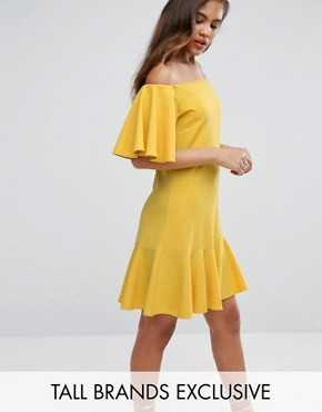 photo Off Shoulder Mini Dress with Fluted Hem Detail by John Zack Tall, color Yellow - Image 1