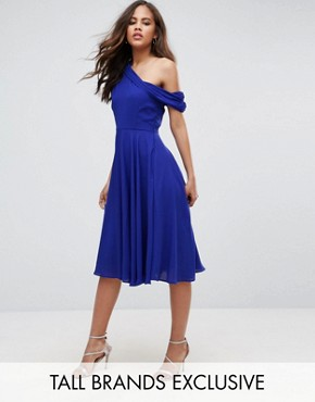 photo Drapey One Shoulder Midi Dress by John Zack Tall, color Blue - Image 1