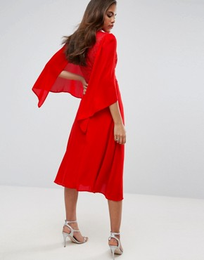 photo Lace Panel Midi Skater Dress with Cape Detail by John Zack Tall, color Red - Image 2