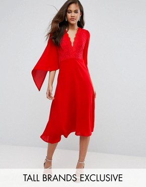 photo Lace Panel Midi Skater Dress with Cape Detail by John Zack Tall, color Red - Image 1