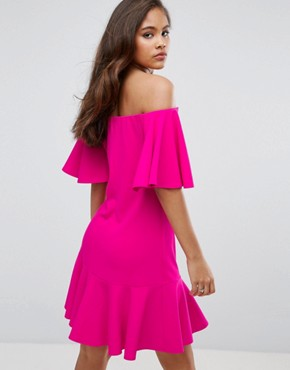 photo Off Shoulder Mini Dress with Fluted Hem Detail by John Zack Tall, color Hot Pink - Image 2