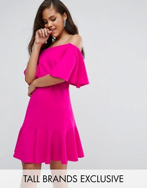 photo Off Shoulder Mini Dress with Fluted Hem Detail by John Zack Tall, color Hot Pink - Image 1