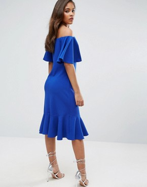 photo Off Shoulder Midi Dress with Fluted Hem Detail by John Zack Tall, color Bright Blue - Image 2