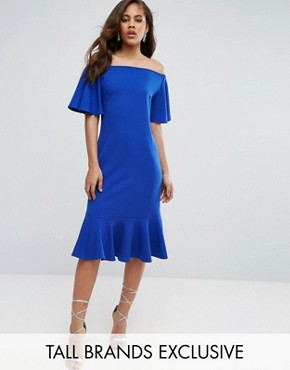 photo Off Shoulder Midi Dress with Fluted Hem Detail by John Zack Tall, color Bright Blue - Image 1
