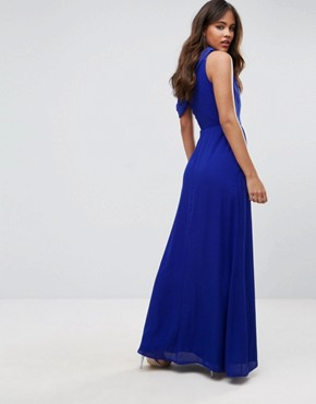 photo Drapey One Shoulder Maxi Dress by John Zack Tall, color Blue - Image 2