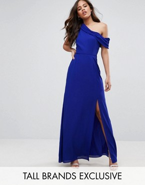 photo Drapey One Shoulder Maxi Dress by John Zack Tall, color Blue - Image 1