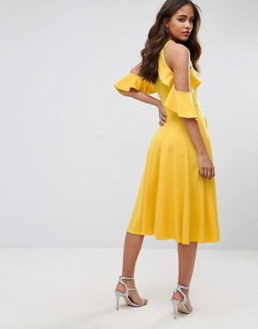 photo Frill Cold Shoulder Midi Dress by John Zack Tall, color Yellow - Image 2