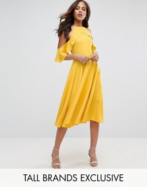 photo Frill Cold Shoulder Midi Dress by John Zack Tall, color Yellow - Image 1