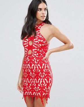 photo Lace Pencil Dress by Love Triangle, color Red - Image 1