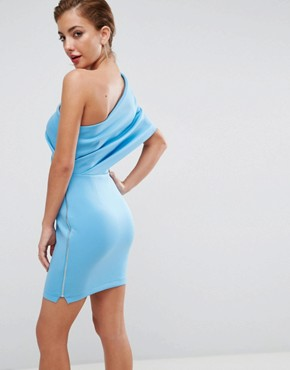 photo One Shoulder Scuba Deep Fold Mini Dress with Exposed Zip by ASOS, color Sugar Blue - Image 2
