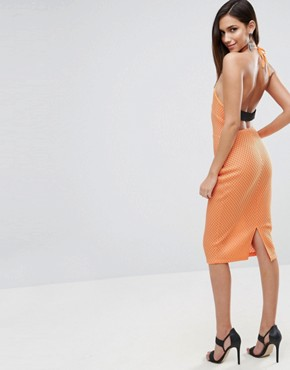 photo Bonded Mesh Scuba Midi Bodycon Dress by ASOS, color Orange - Image 2