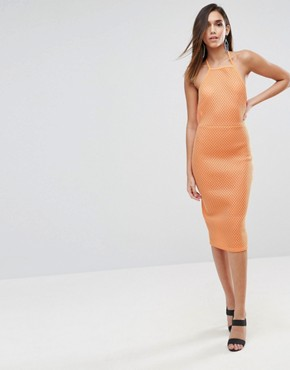 photo Bonded Mesh Scuba Midi Bodycon Dress by ASOS, color Orange - Image 1