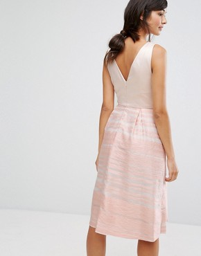 photo Organza Stripe Midi Skater Dress by Oasis, color Pink - Image 2