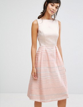 photo Organza Stripe Midi Skater Dress by Oasis, color Pink - Image 1