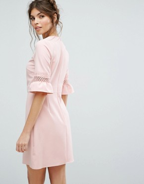 photo Lace Fluted Sleeve Shift Dress by Oasis, color Pink - Image 2