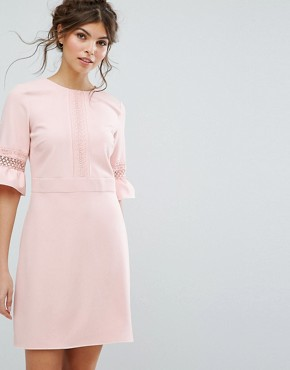 photo Lace Fluted Sleeve Shift Dress by Oasis, color Pink - Image 1