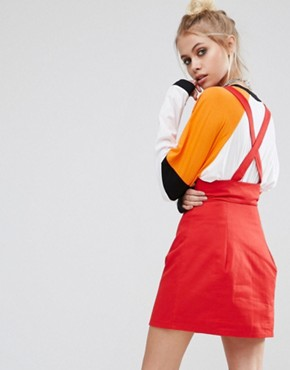 photo Zip Up Mini Pinafore Dress in Cotton Canvas by The Ragged Priest, color Red - Image 2