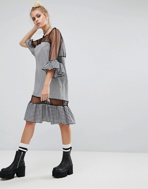 photo Oversized Mesh Dress with Gingham Trims by The Ragged Priest, color Black - Image 1