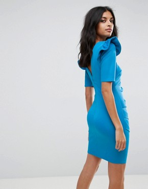 photo Scuba V-Back Mini Dress with Shoulder Ruffle by ASOS, color Blue - Image 2