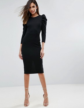 photo Midi Dress with Puff Sleeve and Cut Out Back by ASOS, color Black - Image 2