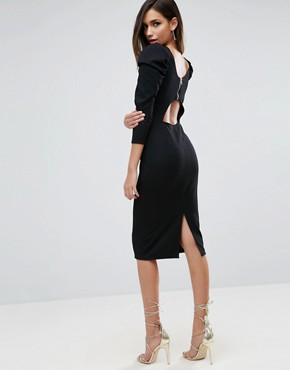 photo Midi Dress with Puff Sleeve and Cut Out Back by ASOS, color Black - Image 1