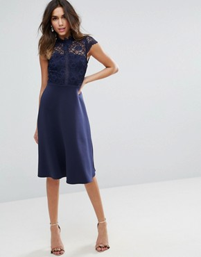 photo High Neck Midi Skater Dress with Lace Top by ASOS, color Navy - Image 1