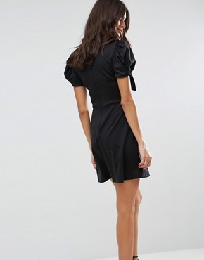 photo Skater Dress with Bow Detail and Puff Sleeves by ASOS, color Black - Image 2