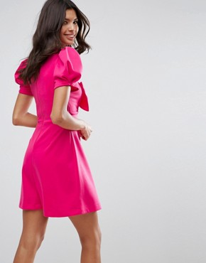 photo Mini Skater Dress with Bow Detail and Puff Sleeves by ASOS, color Hot Pink - Image 2