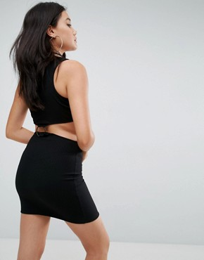 photo Bodycon Dress with Ring Detail in Rib by ASOS, color Black - Image 2