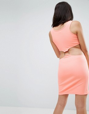 photo Bodycon Dress with Ring Detail in Fluro Rib by ASOS, color Fluro Orange - Image 2