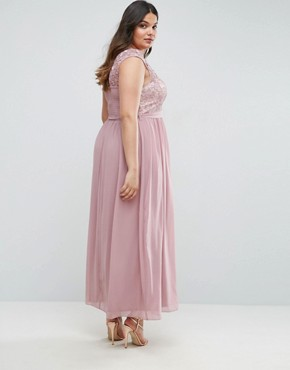 photo Lace Bodice Maxi Dress with Tulle Skirt by Little Mistress Plus, color Pink - Image 2