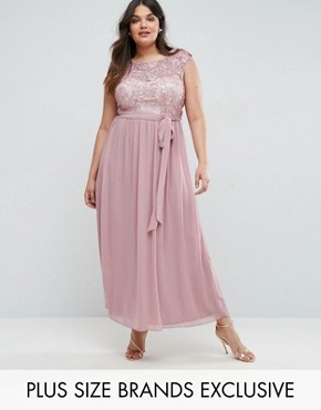 photo Lace Bodice Maxi Dress with Tulle Skirt by Little Mistress Plus, color Pink - Image 1