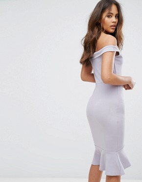 photo V-Bardot Frill Hem Midi Dress by Missguided Tall, color Ice Grey - Image 2