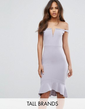 photo V-Bardot Frill Hem Midi Dress by Missguided Tall, color Ice Grey - Image 1