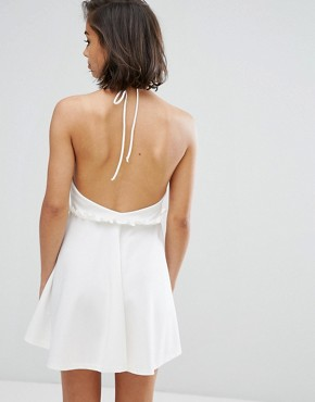 photo Halterneck Frill Waist Skater Dress by Missguided Petite, color White - Image 2