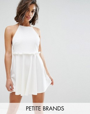 photo Halterneck Frill Waist Skater Dress by Missguided Petite, color White - Image 1