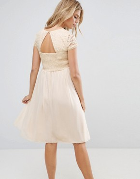 photo Short Sleeve 2 in 1 Lace Skater Dress with Contrast Skirt by Little Mistress Maternity, color Cream - Image 2